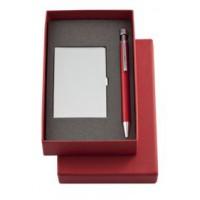 Набор «Join» : футляр для визиток и шариковая ручка, красный