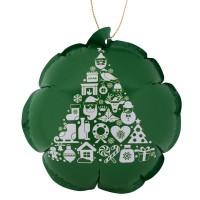 Новогодний самонадувающийся шарик, зеленый с белым рисунком