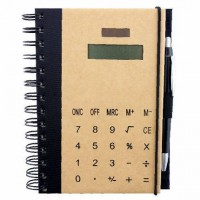 Эко блокнот с калькулятором и ручкой, на резинке, блок белый в линейку 115 х 175 мм, 72 стр