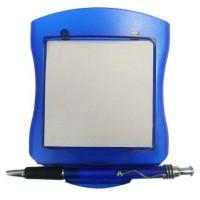 Блокнот с ручкой на подставке-прижиме, цвет синий