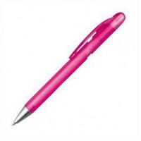 Ручка из пластика наконечник серебристый, полупрозрачный розовый корпус