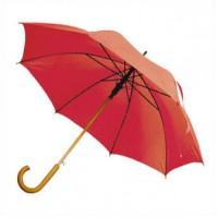 Зонт-трость с деревянной изогнутой ручкой, полуавтомат, цвет купола красный 179 C