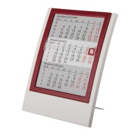 Календарь настольный на 2 года; белый с красным; 12,5х16 см; пластик; шелкография, тампопечать