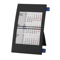 Календарь настольный на 2 года; черный с синим; 18х11 см; пластик; тампопечать, шелкография