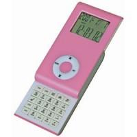 Калькулятор раздвижной с календарем и часами; розовый; 9,6х5х1,4 см; пластик; тампопечать