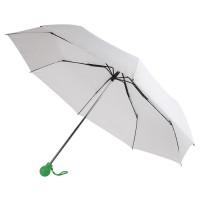 Зонт складной FANTASIA, механический, белый с зеленой ручкой