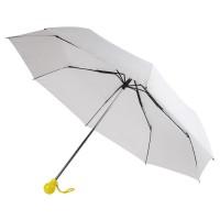 Зонт складной FANTASIA, механический, белый с желтой ручкой