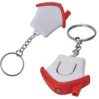 "Брелок-фонарик ""Дом""; белый с красным, 3,5х3,5х1см, пластик"