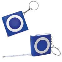 Брелок-рулетка (1м) с фонариком; синяя, 5х5х1,2см, пластик