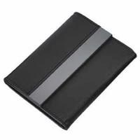 Футляр для карт; 20 кармашков; черный; 10,7х8,5х1,8 см; иск. кожа, металл; лазерная гравировка